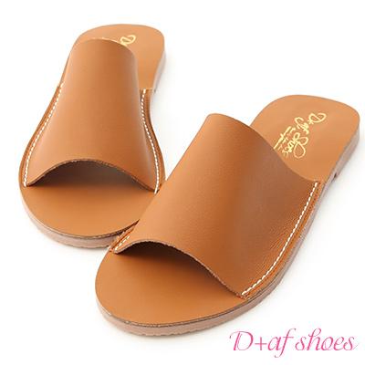 D+AF 愜意搭配.超軟一字平底涼拖鞋*棕
