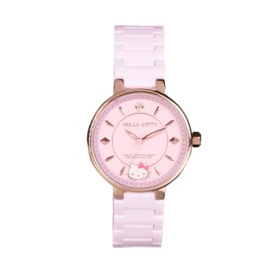 HELLO KITTY 凱蒂貓優雅陶瓷手錶-粉紅/33mm