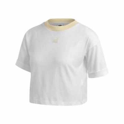 adidas T恤 Adicolor Top 運動休閒 女款 愛迪達 三葉草 短版 流行 穿搭 刺繡 白 黃 FM3260