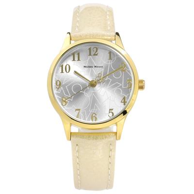 Disney 迪士尼米奇系列數字時標日本機芯兒童卡通皮革手錶 銀x金框x米 32mm