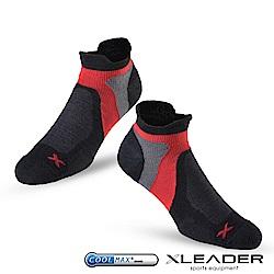LEADER ST-02 X型繃帶加厚耐磨避震短襪除臭運動襪 男款 黑紅