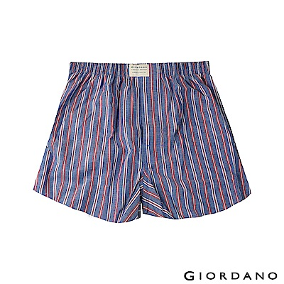 GIORDANO 男裝純棉平底四角內褲-28 海軍寶藍/紅條紋色