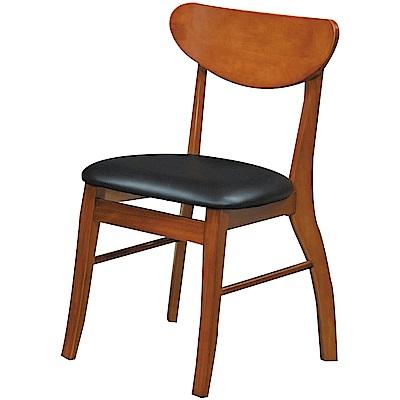 綠活居 伊森皮革&實木餐椅二入組合(六色+二入)-45x47x81cm免組