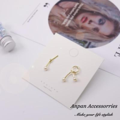 【Anpan 愛扮】韓東大門復古金屬打結不對稱925銀耳釘式耳環