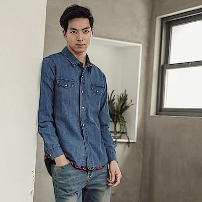 高含棉下襬滾邊格紋牛仔襯衫-OB大尺碼