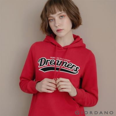 GIORDANO 女裝 Dreamers系列復古風連帽T恤-03 新冠軍紅