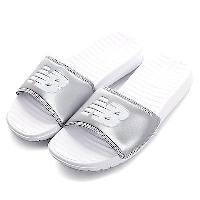 NewBalance-男女涼拖鞋-白銀