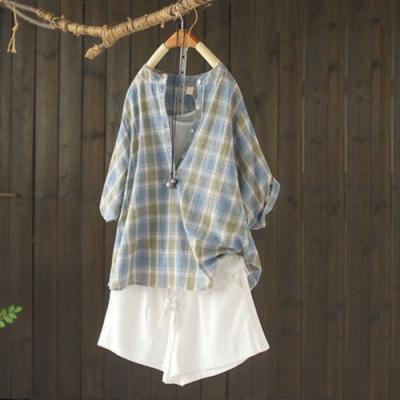 純棉格子立領襯衫寬鬆半開襟蝙蝠短袖上衣-設計所在