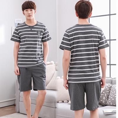 【KEITH-WILL】條紋精選男性居家休閒套裝