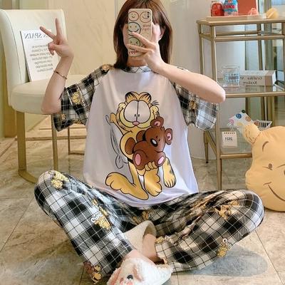 La Belleza彩色卡通貓咪小熊印花上衣加格子褲居家休閒套裝