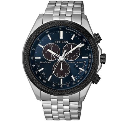 CITIZEN 星辰 光動能萬年曆三眼計時手錶-44mm/藍(BL5568-54L)