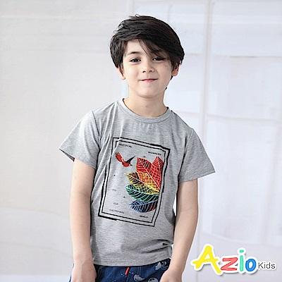 Azio Kids 上衣 樹葉鳥方框印花短袖T恤(灰)
