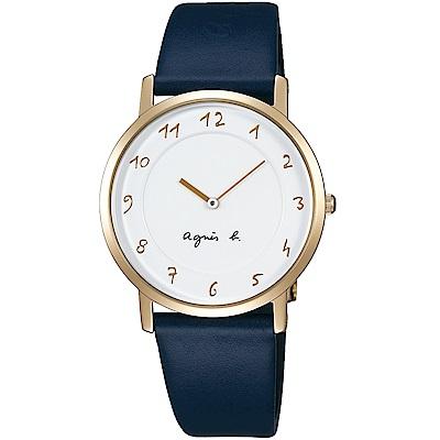 agnes b.法式風情簡約薄型腕錶(BG4020P1)-白X藍色/34mm
