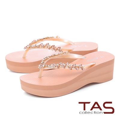 TAS立體水鑽人字厚底楔型夾腳拖鞋-粉膚橘