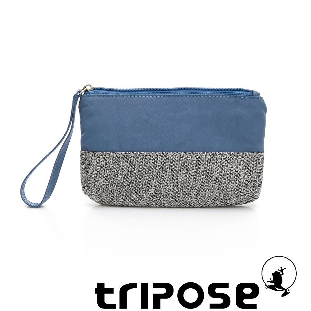 tripose漫遊系列岩紋x微皺尼龍多功能手拎袋(大)水藍