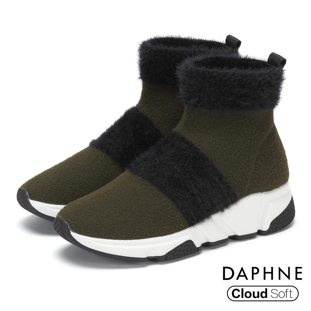 達芙妮DAPHNE 短靴-短絨撞色拼接雲軟厚底襪靴-綠