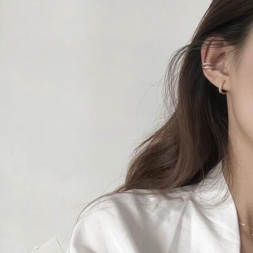梨花HaNA 韓國925銀極簡個性思維相鑽耳環耳骨夾