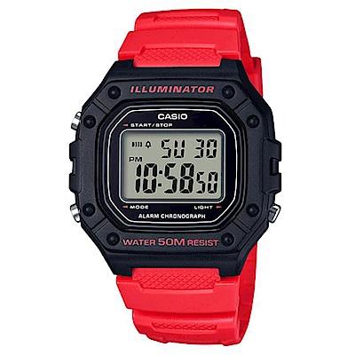 CASIO 多色方款造型實用數位休閒錶-紅(W-218H-4B)/43.2mm