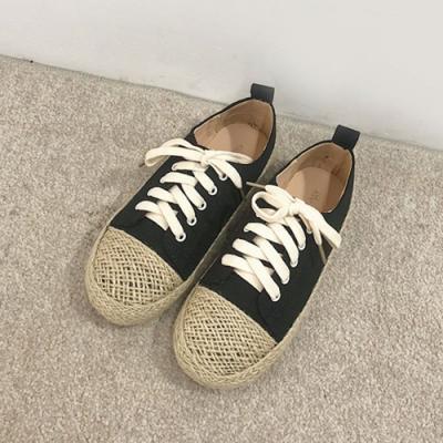 韓國KW美鞋館 輕巧文藝女孩草編帆布鞋-黑色繫帶