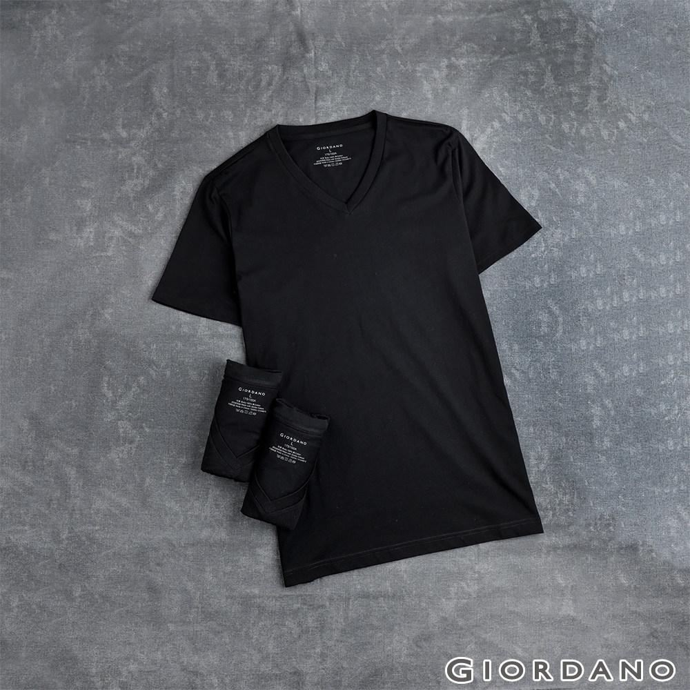 GIORDANO 男裝素色純棉V領短袖T恤(三件裝) - 29 標誌黑