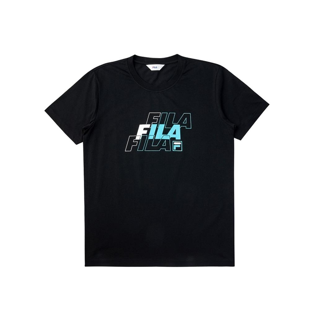 FILA 短袖圓領T恤合身版-黑色 1TEV-1518-BK