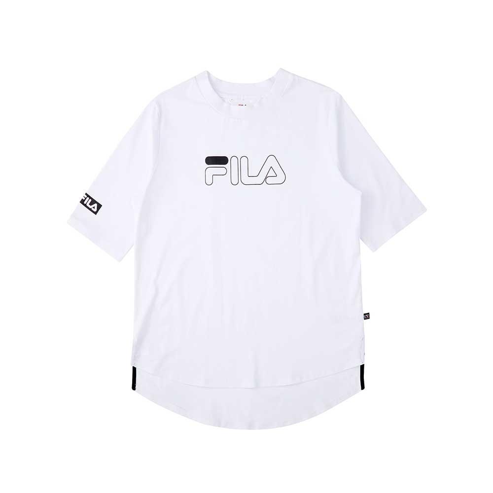 FILA 七分袖長版上衣-白 5TEU-5505-WT