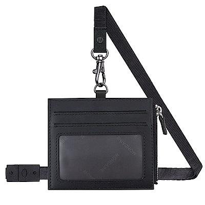 MONDAINE 瑞士國鐵牛皮4卡拉鏈安全釦證件套–黑