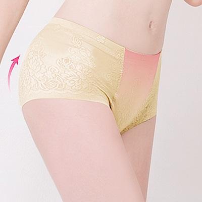 中腰無痕透氣緹花M-2XL一分提臀褲 初暮黃 可蘭霓Clany