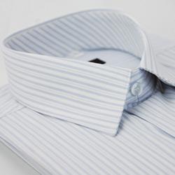 金‧安德森 淡藍色寬細條紋長袖襯衫
