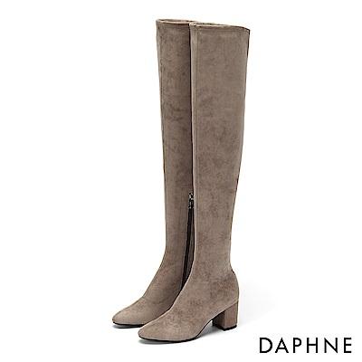 達芙妮DAPHNE 膝上靴-原色絨面內側拉鍊粗跟膝上靴-杏