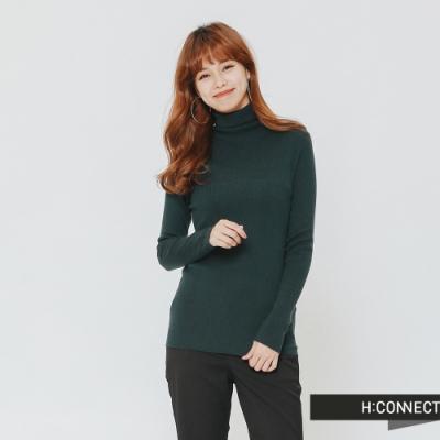 H:CONNECT 韓國品牌 女裝 - 修身高領針織上衣-綠(快)