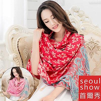 seoul show首爾秀 樓蘭葉語民族風純棉編織圍巾披肩