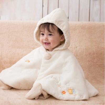 【Amorosa Mamma】有機棉嬰兒鋪棉斗篷披風披肩外套-小蜜蜂
