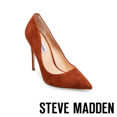 STEVE MADDEN-DAISIE 素面尖頭高跟鞋-絨咖色