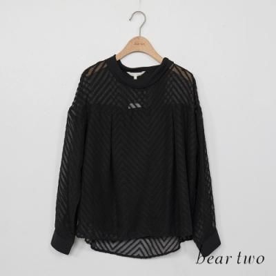 beartwo-微透薄紗唯美上衣-黑