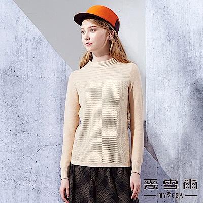 【麥雪爾】羊兔毛小高領特殊織紋金蔥毛衣