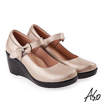 A.S.O 素雅通勤 蝴蝶結飾釦氣墊高跟楔形鞋 卡其