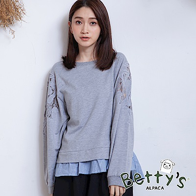 betty's貝蒂思 微透蕾絲格纹拼接T-shirt(中灰)
