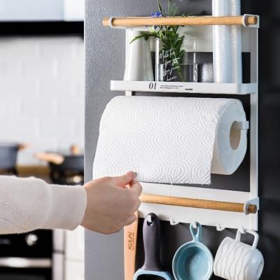 半島良品 (1入組)無痕安裝磁吸式鐵藝廚房收納架(2色)