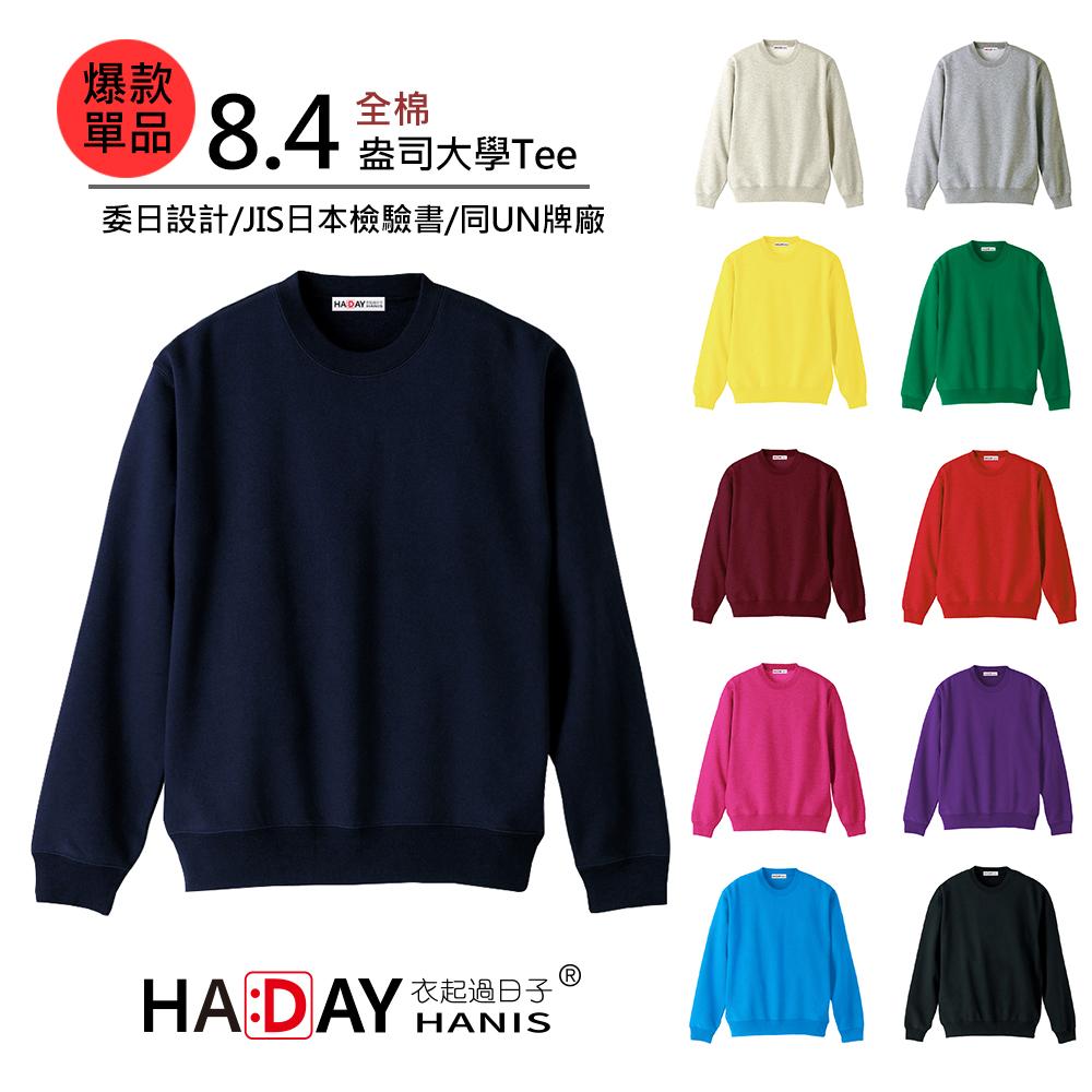HADAY 重量級8.4盎司 全棉圓領大學T 委託日本設計 毛巾底布 海軍藍