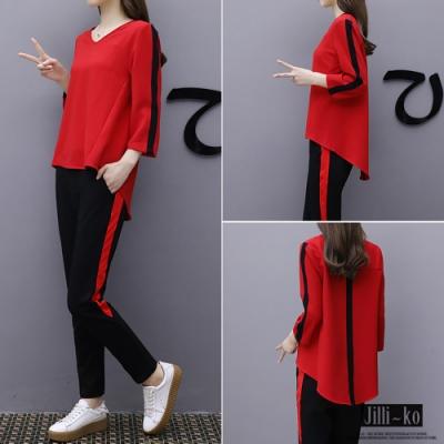 JILLI-KO V領條紋配色套裝- 紅色
