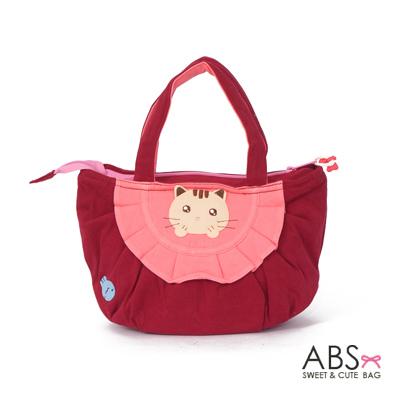 ABS貝斯貓 可愛小魚趴趴貓布包小提袋(活力紅)88-115