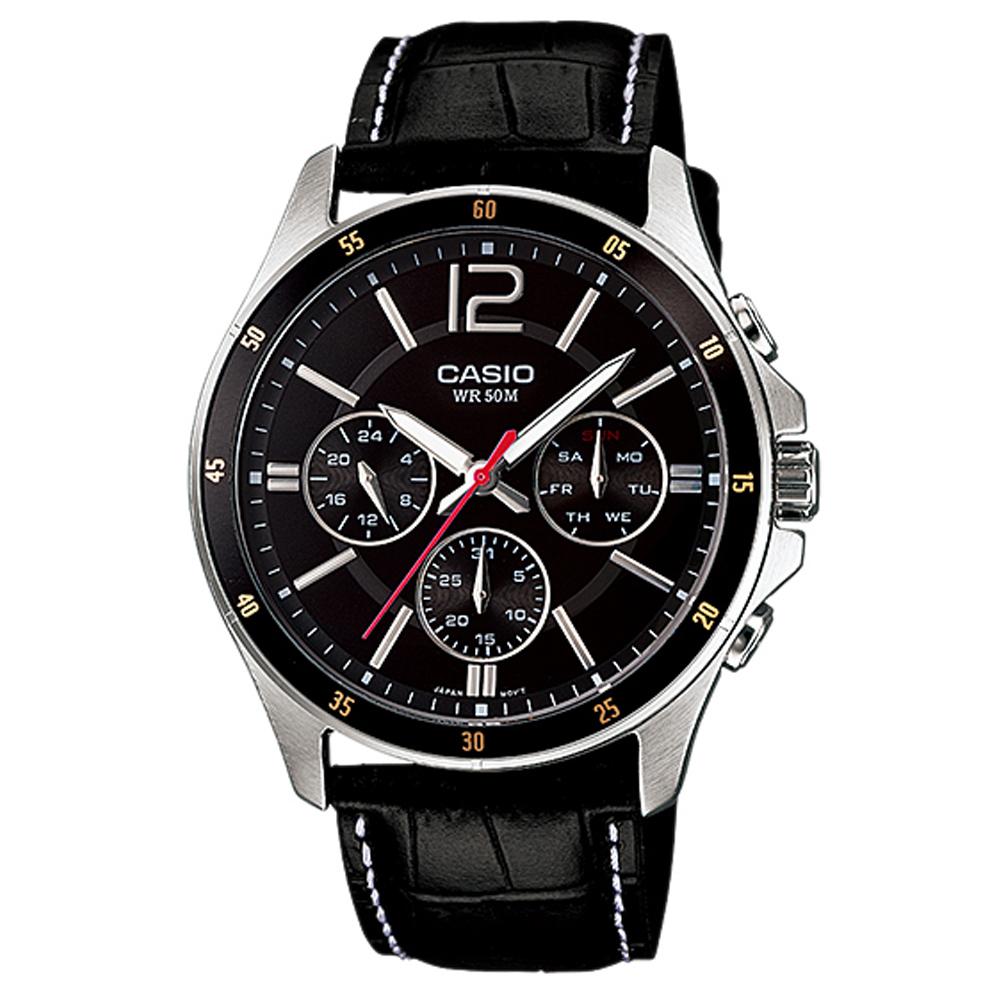CASIO卡西歐 經典三眼男仕皮革腕錶 (MTP-1374L)-2色/47mm @ Y!購物