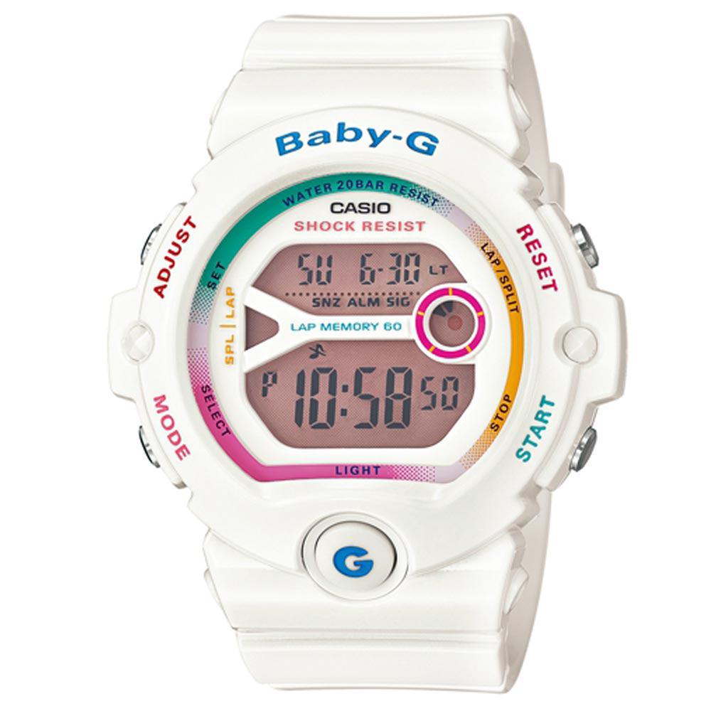 BABY-G 繽紛多彩慢跑女孩新主張休閒運動錶(BG-6903-7C)-雪白/45mm