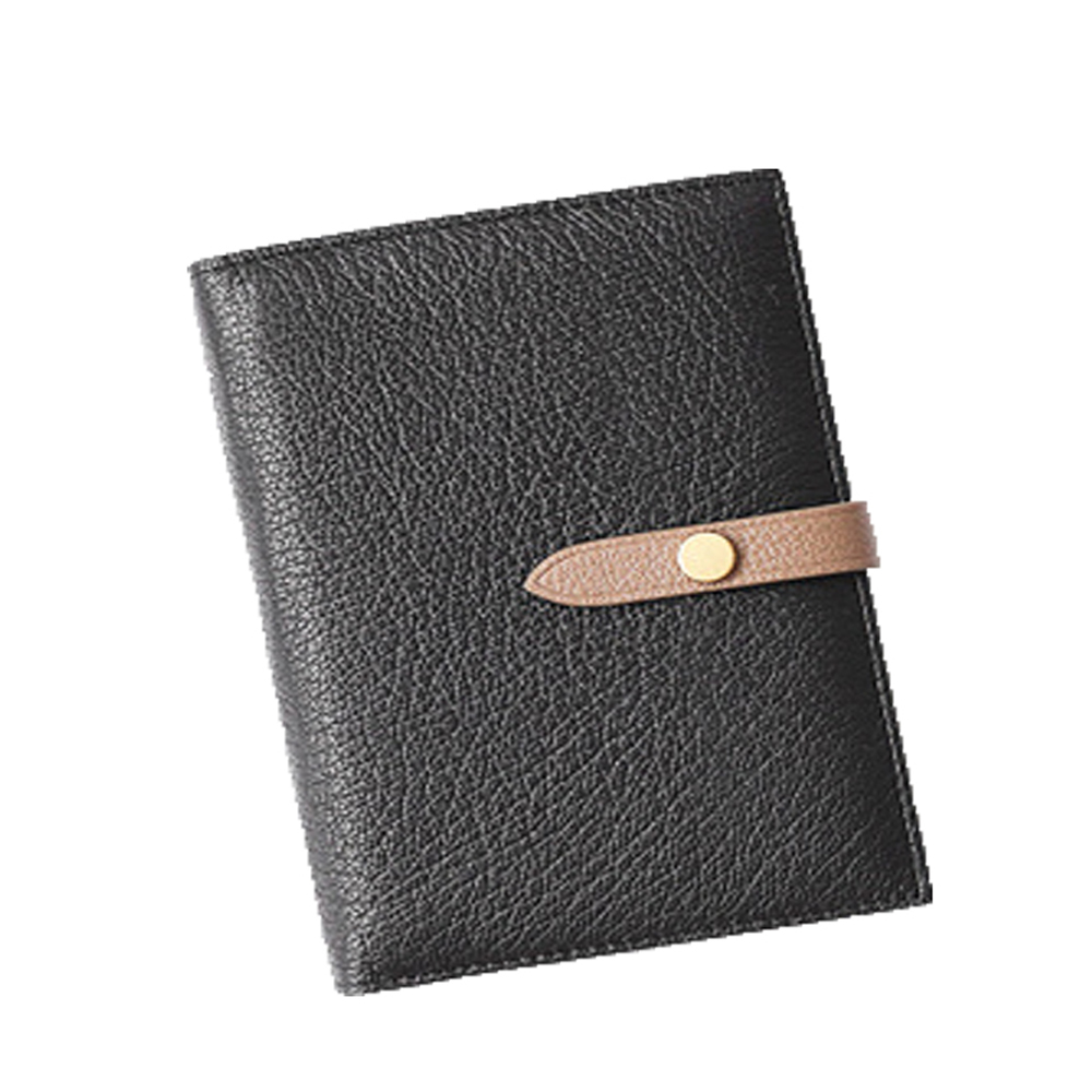 GT0018BK歐美頭層羊皮搭扣護照包/證件包/皮夾黑色