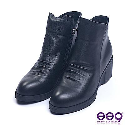 ee9 經典手工素面百搭楔型跟踝靴 黑色