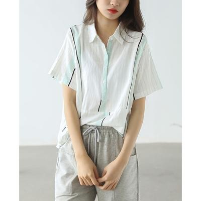 顯瘦豎條紋紋半開襟純棉襯衫上衣四色可選-設計所在