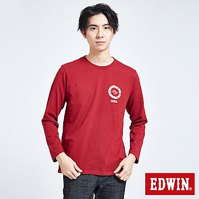 EDWIN 搖滾不死 MODS斑駁標靶紅心長袖T恤-男-朱紅