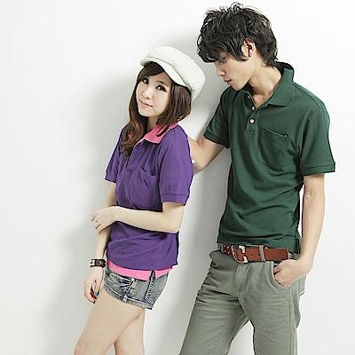 達邦  P0124大尺碼高磅數混搭必備素面口袋短袖POLO衫-墨綠