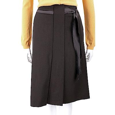 ALBERTA FERRETTI 絲緞綁帶咖啡色抓褶及膝裙